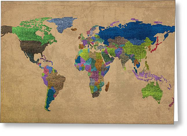 Denims Greeting Cards - Denim Map of the World Jeans Texture on Worn Canvas Paper Greeting Card by Design Turnpike
