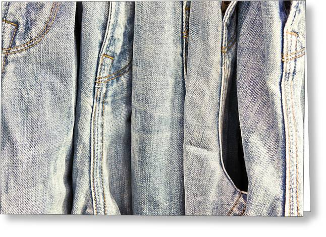 Casual Blue Jeans Greeting Cards - Denim Greeting Card by Tom Gowanlock