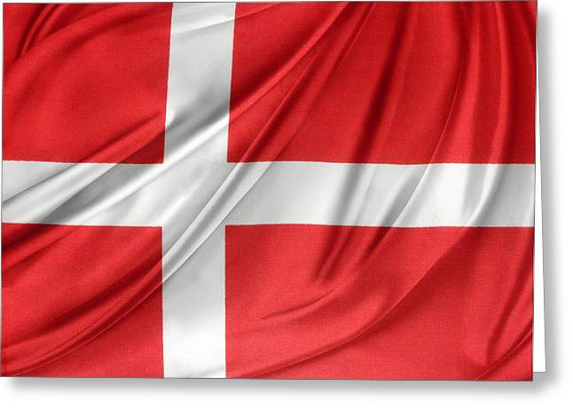 White Cloth Greeting Cards - Denmark flag Greeting Card by Les Cunliffe
