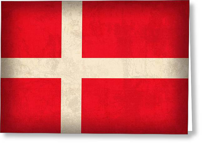 Denmark Greeting Cards - Denmark Flag Vintage Distressed Finish Greeting Card by Design Turnpike