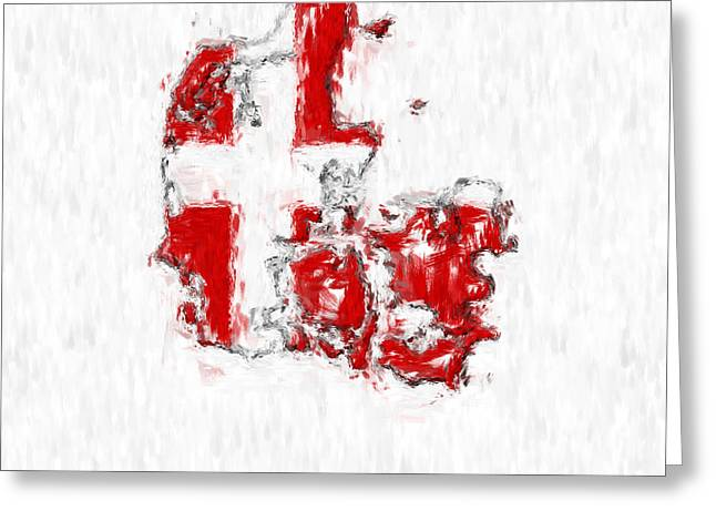 Denmark Painted Flag Map Greeting Card by Antony McAulay