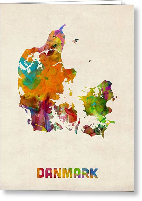 Denmark Greeting Cards - Denmark Watercolor Map Greeting Card by Michael Tompsett