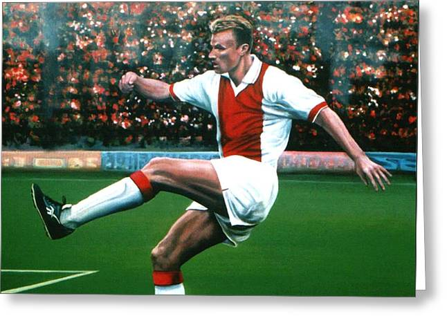 Uefa Champions League Greeting Cards - Dennis Bergkamp Ajax Greeting Card by Paul  Meijering