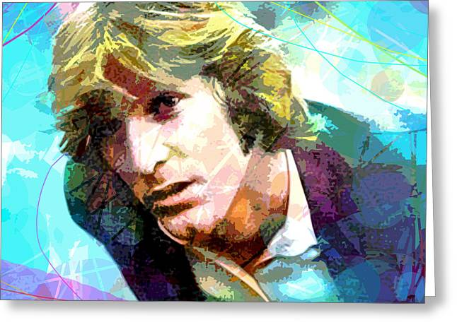 Surfer Art Greeting Cards - DENNIS WILSON - Pacific Ocean Blue Greeting Card by David Lloyd Glover