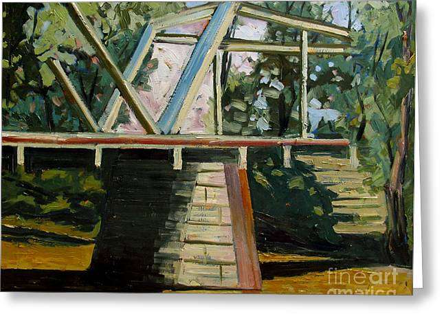 Roadway Paintings Greeting Cards - Dennistons Bridge Greeting Card by Charlie Spear