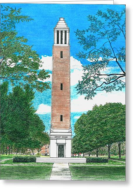 University Of Alabama Mixed Media Greeting Cards - Denny Chimes Greeting Card by Cloud Farrow