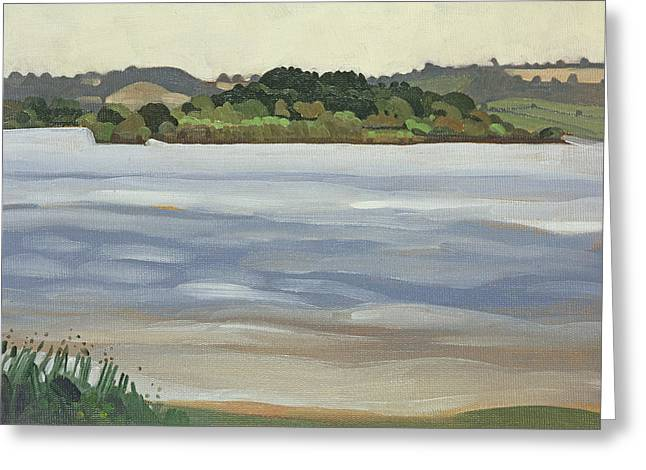 West Country Greeting Cards - Denny Island, Chew Valley Lake Oil On Board Greeting Card by Anna Teasdale