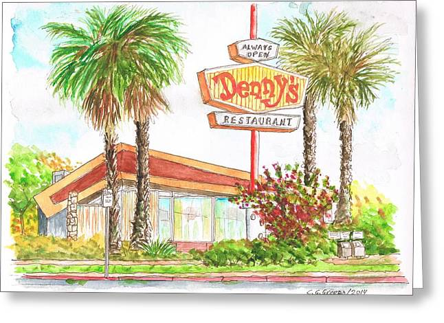 Dennys Greeting Cards - Dennys Coffee Shop in Lankershim Blvd - North Hollywood - California Greeting Card by Carlos G Groppa