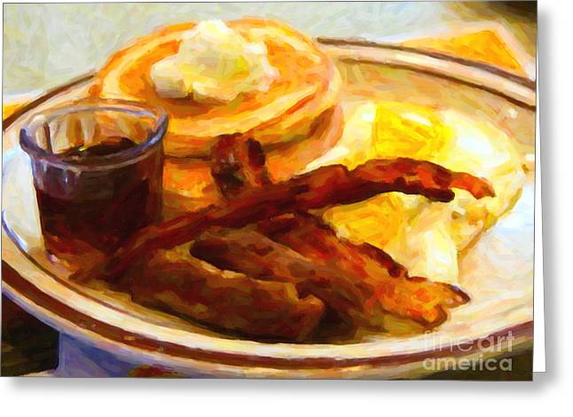 Denny's Grand Slam Breakfast - Painterly Greeting Card by Wingsdomain Art and Photography