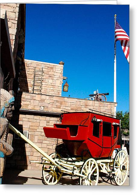 Dennys Greeting Cards - Dennys Wigwam General Store and Red Stagecoach with American Flag and Restaurant in Kanab Utah Greeting Card by Robert Ford