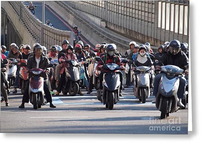 Dense Scooter Traffic In Taiwan Greeting Card by Yali Shi