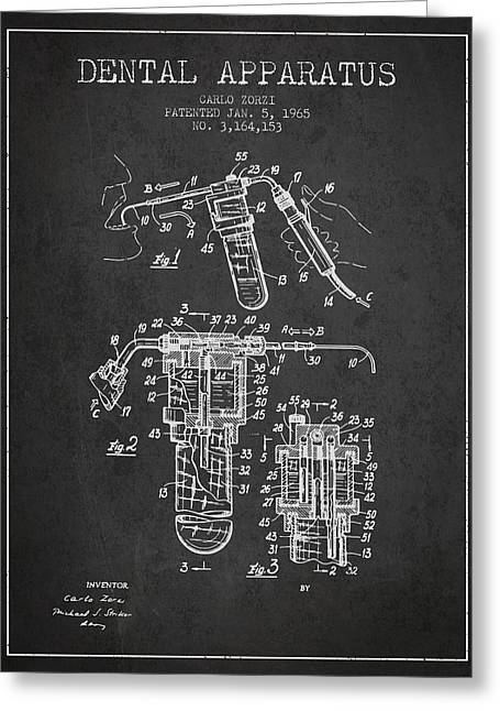 Pliers Greeting Cards - Dental Apparatus patent drawing from 1965 - Dark Greeting Card by Aged Pixel