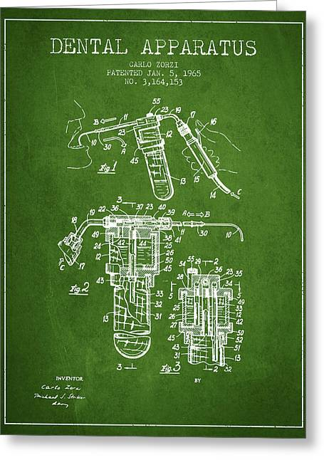 Dental Greeting Cards - Dental Apparatus patent drawing from 1965 - Green Greeting Card by Aged Pixel