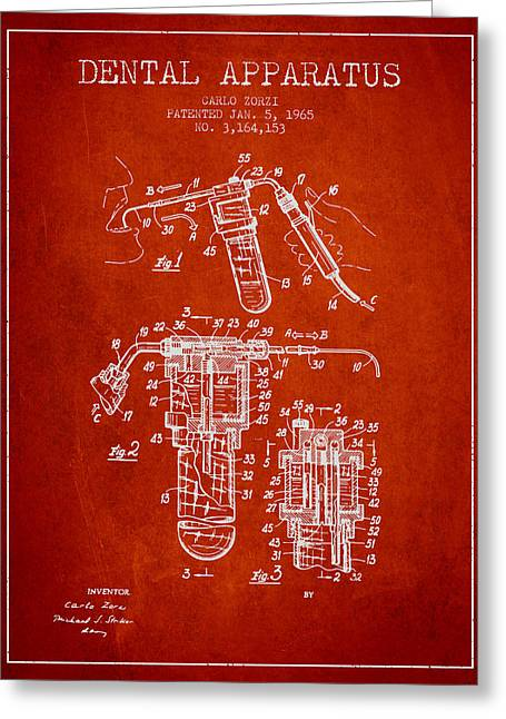 Pliers Greeting Cards - Dental Apparatus patent drawing from 1965 - Red Greeting Card by Aged Pixel