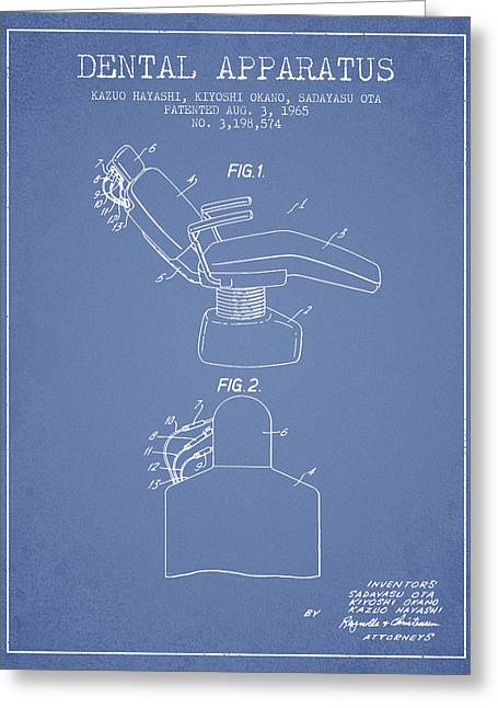 Vintage Care Greeting Cards - Dental Apparatus patent from 1965 - Light Blue Greeting Card by Aged Pixel