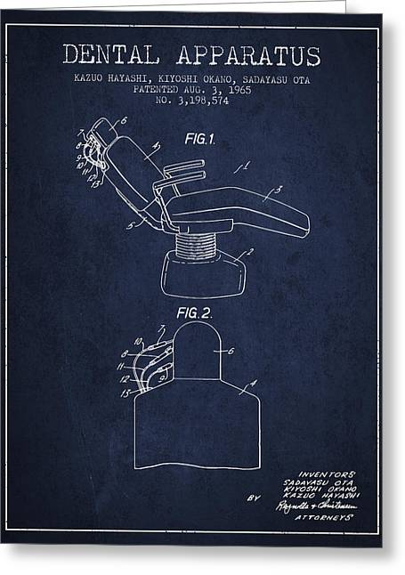 Technicians Greeting Cards - Dental Apparatus patent from 1965 - Navy Blue Greeting Card by Aged Pixel