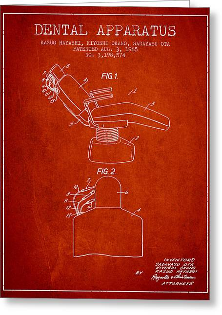 Technicians Greeting Cards - Dental Apparatus patent from 1965 - Red Greeting Card by Aged Pixel