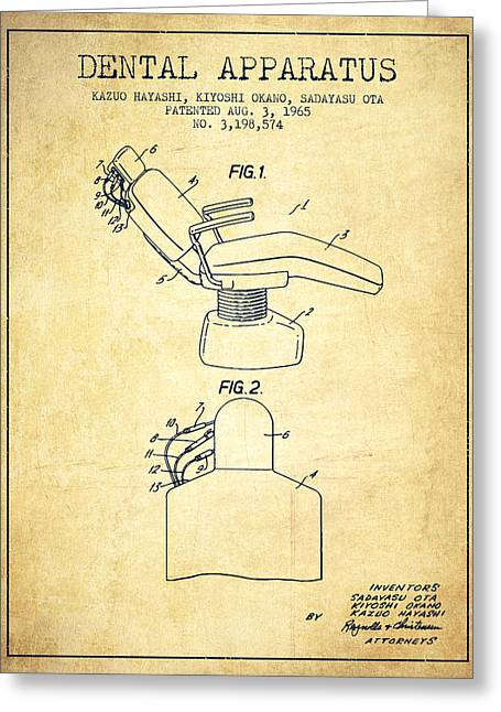 Technicians Greeting Cards - Dental Apparatus patent from 1965 - Vintage Greeting Card by Aged Pixel