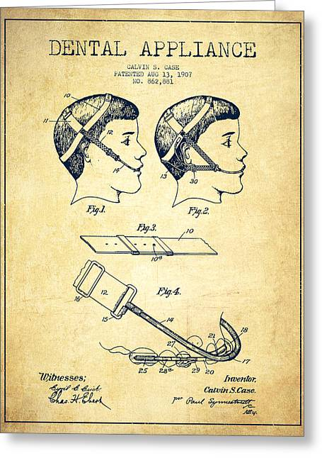 Pliers Greeting Cards - Dental appliance Patent From 1907 - Vintage Greeting Card by Aged Pixel