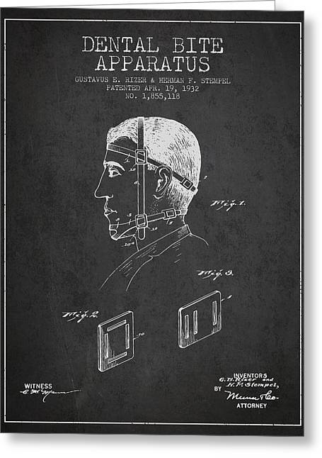 Dental Bite Apparatus Patent From 1932 - Dark Greeting Card by Aged Pixel