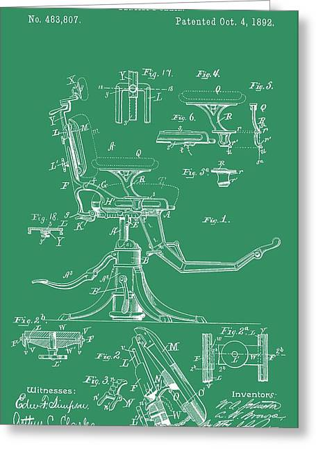 Repaired Digital Art Greeting Cards - Dental Chair Patent Greeting Card by Dan Sproul