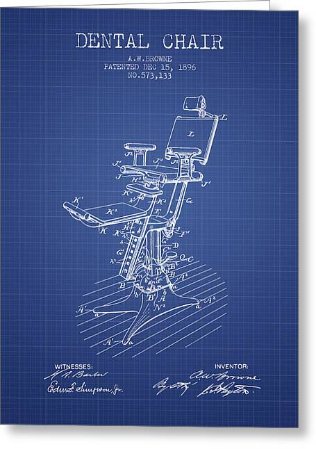 Technicians Greeting Cards - Dental Chair Patent drawing from 1896 - Blueprint Greeting Card by Aged Pixel