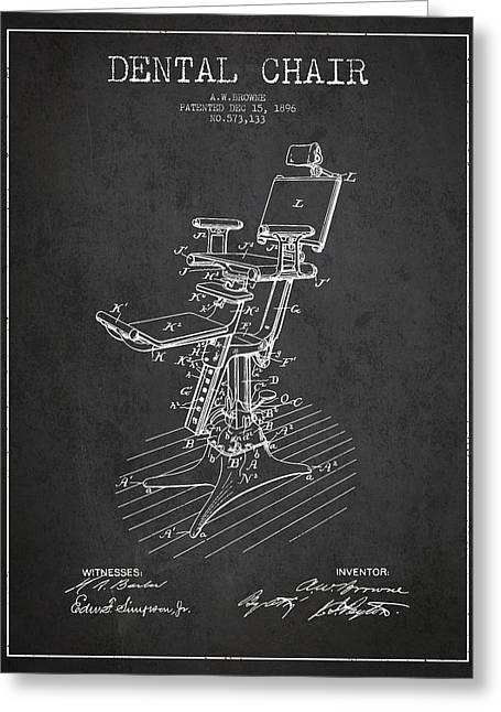 Technicians Greeting Cards - Dental Chair Patent drawing from 1896 - Dark Greeting Card by Aged Pixel