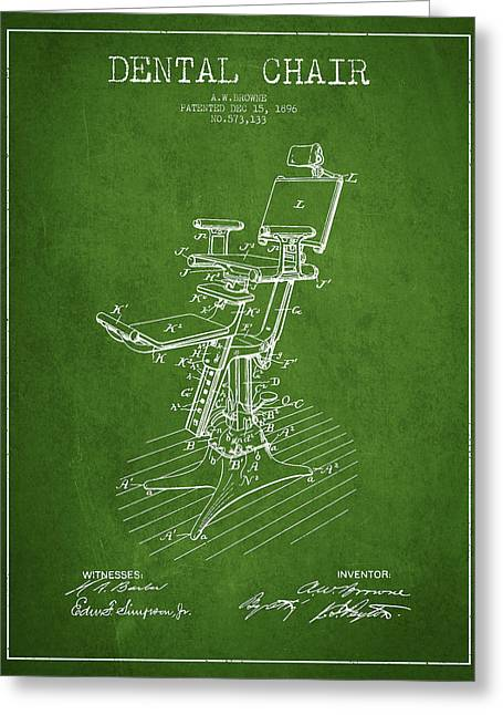 Technicians Greeting Cards - Dental Chair Patent drawing from 1896 - Green Greeting Card by Aged Pixel