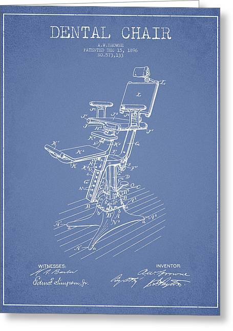 Technicians Greeting Cards - Dental Chair Patent drawing from 1896 - Light Blue Greeting Card by Aged Pixel
