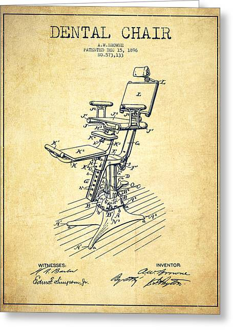Technicians Greeting Cards - Dental Chair Patent drawing from 1896 - Vintage Greeting Card by Aged Pixel