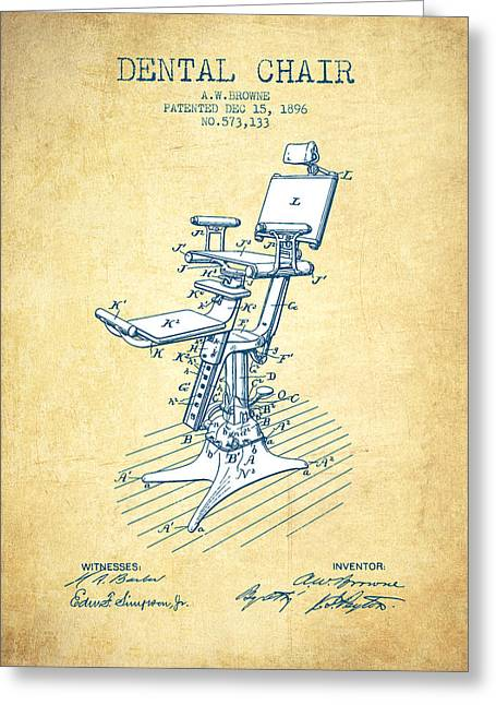 Technicians Greeting Cards - Dental Chair Patent drawing from 1896 - Vintage Paper Greeting Card by Aged Pixel