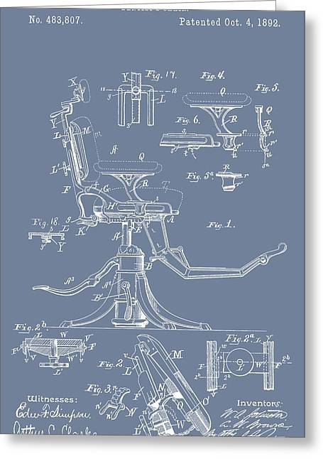 Repaired Digital Art Greeting Cards - Dental Chair Patent On Blue Greeting Card by Dan Sproul