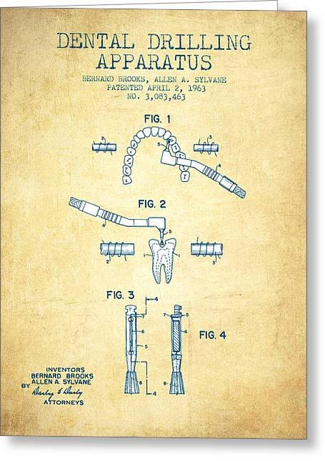 Excavator Greeting Cards - Dental Drilling Apparatus Patent from 1963 - Vintage Paper Greeting Card by Aged Pixel
