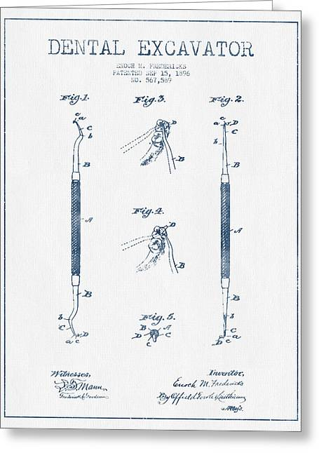 Excavator Greeting Cards - Dental Excavator Patent Drawing From 1896 - Blue Ink Greeting Card by Aged Pixel