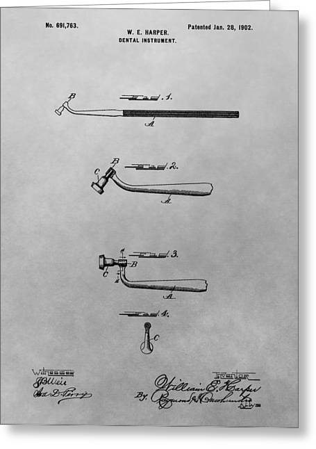 Pull Greeting Cards - Dental Instrument Patent Drawing Greeting Card by Dan Sproul