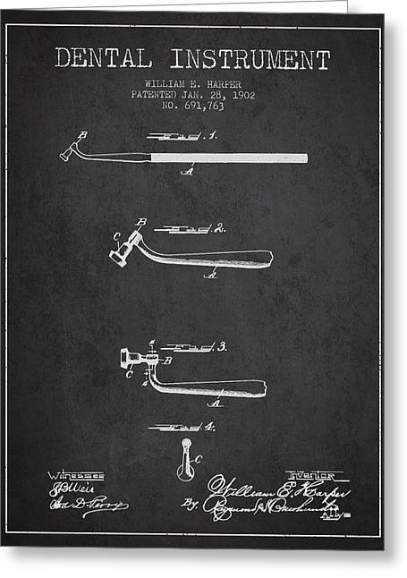 Dental Greeting Cards - Dental Instruments patent from 1902 - Dark Greeting Card by Aged Pixel