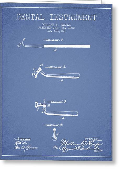 Dental Greeting Cards - Dental Instruments patent from 1902 - Light Blue Greeting Card by Aged Pixel