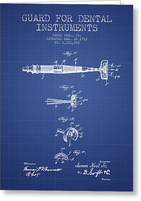 Dental Greeting Cards - Dental Instruments patent from 1912 -  Blueprint Greeting Card by Aged Pixel