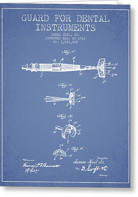 Pliers Greeting Cards - Dental Instruments patent from 1912 - Light Blue Greeting Card by Aged Pixel