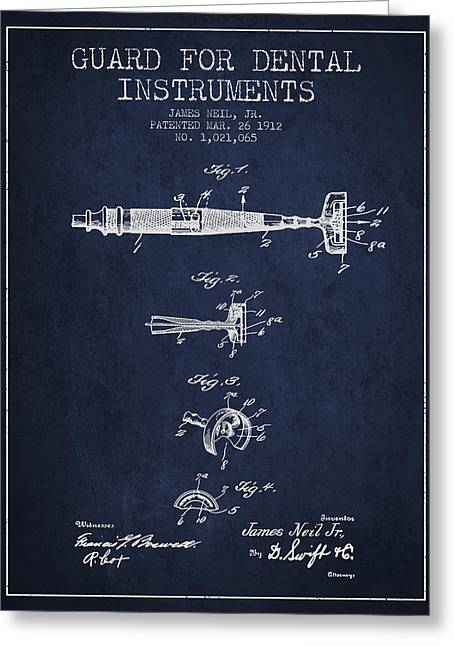 Pliers Greeting Cards - Dental Instruments patent from 1912 - Navy Blue Greeting Card by Aged Pixel
