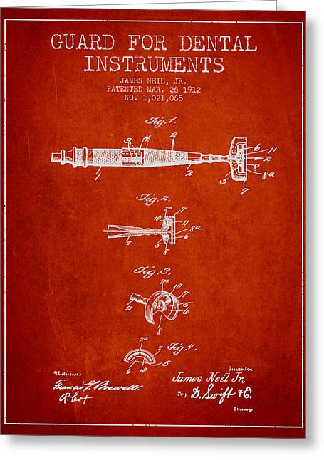 Pliers Greeting Cards - Dental Instruments patent from 1912 - red Greeting Card by Aged Pixel