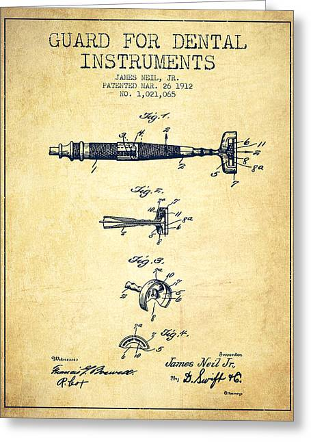 Dental Greeting Cards - Dental Instruments patent from 1912 - Vintage Greeting Card by Aged Pixel