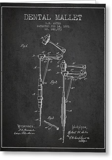 Pliers Greeting Cards - Dental Mallet patent from 1881 - Charcoal Greeting Card by Aged Pixel