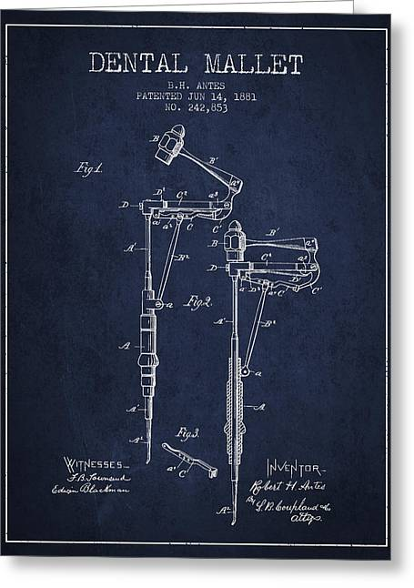 Dental Greeting Cards - Dental Mallet patent from 1881 - Navy Blue Greeting Card by Aged Pixel
