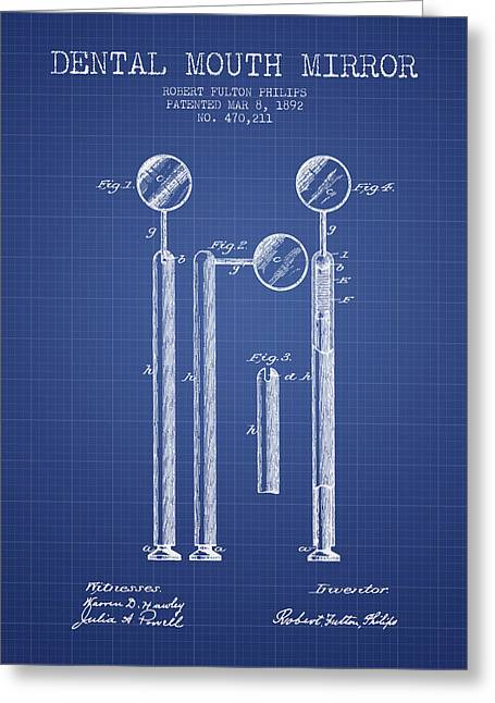Technicians Greeting Cards - Dental Mouth Mirror Patent From 1892  - Blueprint Greeting Card by Aged Pixel