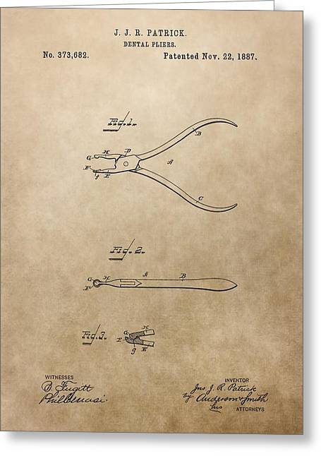 Pull Greeting Cards - Dental Pliers Patent Design Greeting Card by Dan Sproul