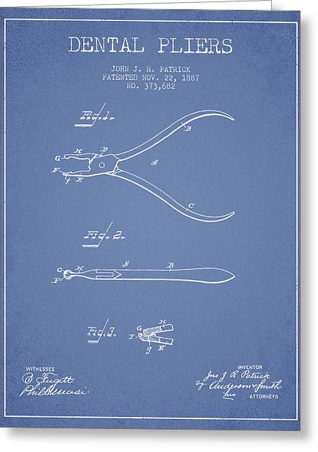 Pliers Greeting Cards - Dental Pliers patent from 1887- Light Blue Greeting Card by Aged Pixel