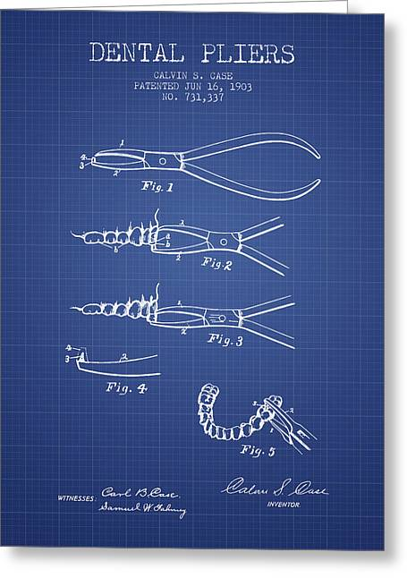 Surgeon Greeting Cards - Dental Pliers Patent From 1903 - Blueprint Greeting Card by Aged Pixel