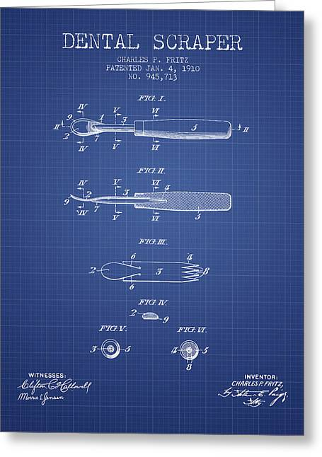 Pliers Greeting Cards - Dental Scraper patent from 1910- Blueprint Greeting Card by Aged Pixel