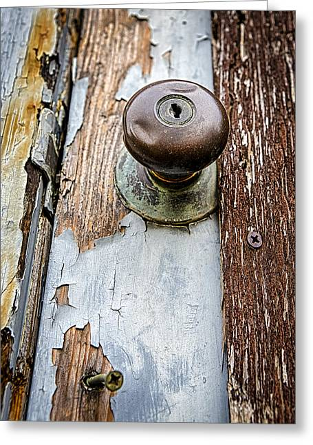 Old Abandoned House Greeting Cards - Dented Doorknob Greeting Card by Caitlyn  Grasso
